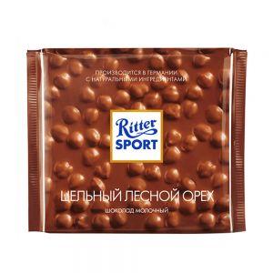 Шоколад Риттер Спорт Цельный Лесной Орех Молочный 100г (Упаковка - 10 шт)